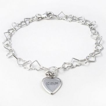 Personalised Linked Heart Bracelet